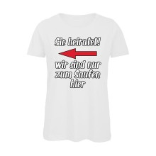 Polterabend-Tshirt SIE HEIRATET! | links